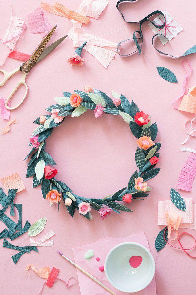 DIY une couronne de fleur en papier crépon
