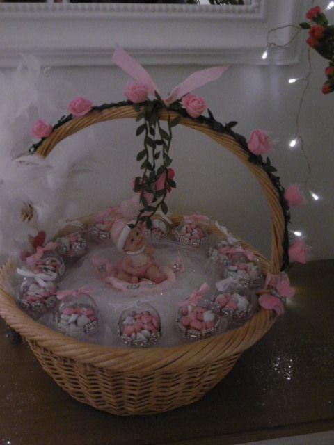 Corbeille de naissance baptême dragées fille
