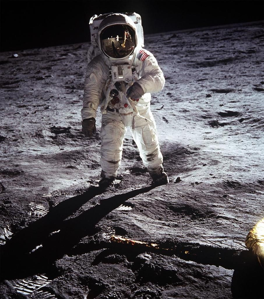 Image result for buzz aldrin on the moon