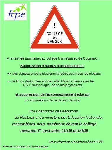 COLLEGE EN DANGER