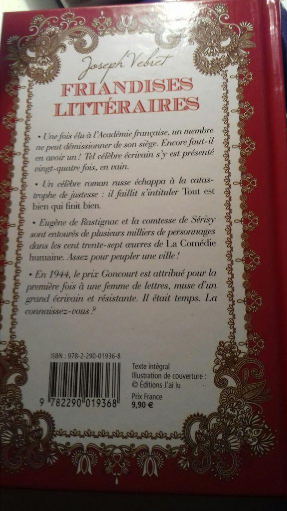 Joseph Vebret - Friandises littéraires - Quatrième de couverture...
