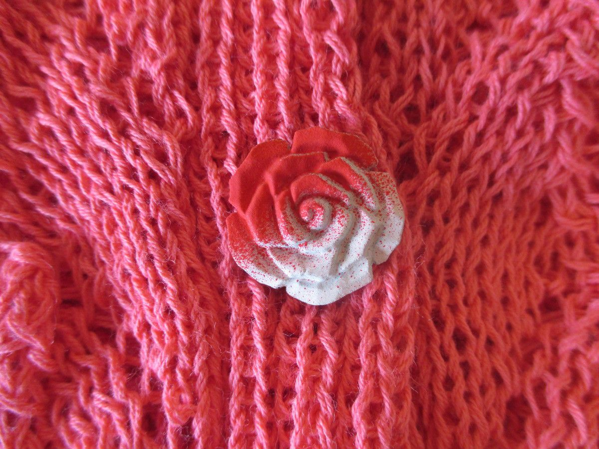 Pull bleu et gilet rose made by Marie