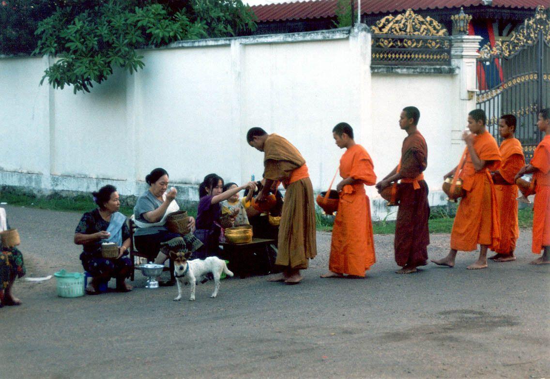 Kurz nach Sonnenaufgang kommen die Mönche mit ihren Opferschalen zur Mönchfütterung. Anwohner haben sich mit kleinen Tischchen und Stühlen auf der Strasse versammelt und geben den Mönchen wortlos Reis, Plastiktütchen mit anderem Essen und Geld für ihr Studium.