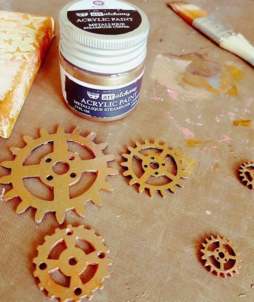 Sur certains rouages de la peinture cuivre (Art Alchemy acrylic paint)/ and copper Acrylic paint