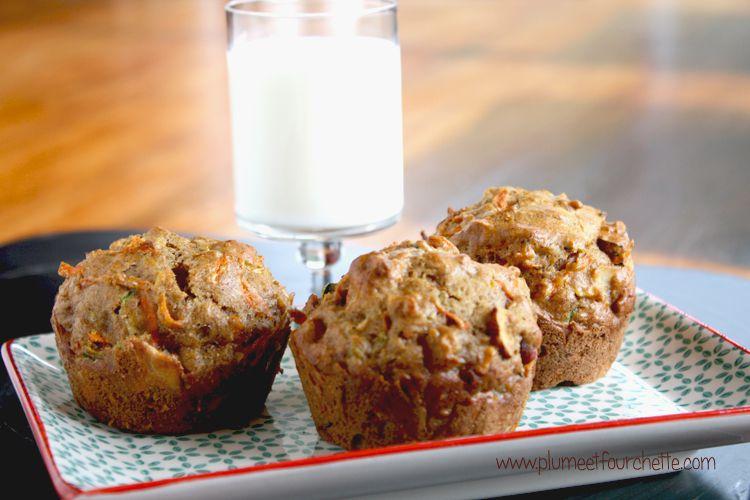 Muffins aux carottes, courgettes et poires
