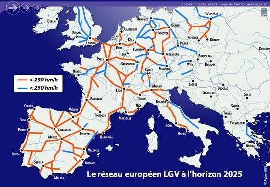 Ci-dessus la carte du réseau LGV en Europe (la france est au coeur de ce réseau)