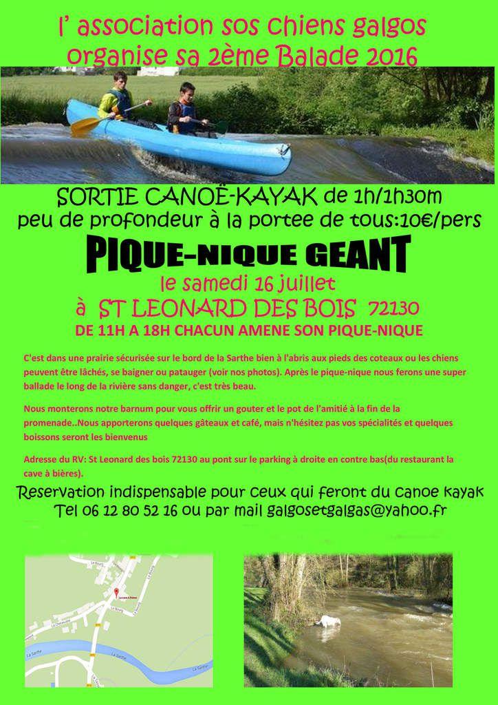 Journée pic-nique et canoe kayak en sarthe le 16/07/2016