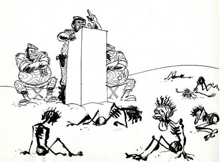 -Sans titre-, famine suite aux guerres en Afrique subsaharienne,dessin à l'encre de Jean Cabu, années 1970