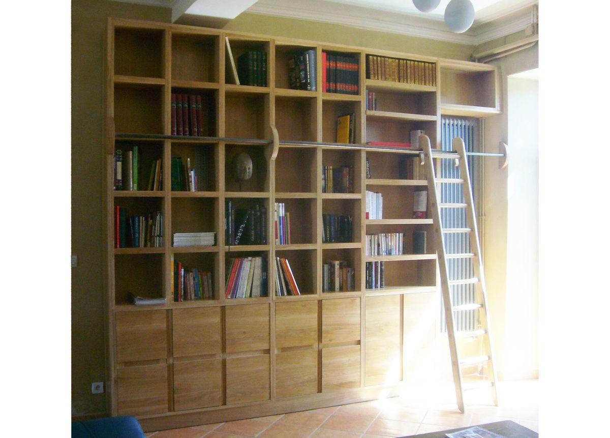 biblioth que en ch ne massif fran ois roussel b niste. Black Bedroom Furniture Sets. Home Design Ideas