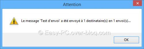 Popup de notification d'envoi de SendMail