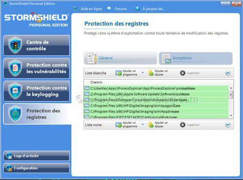 Protection Registre StormShield