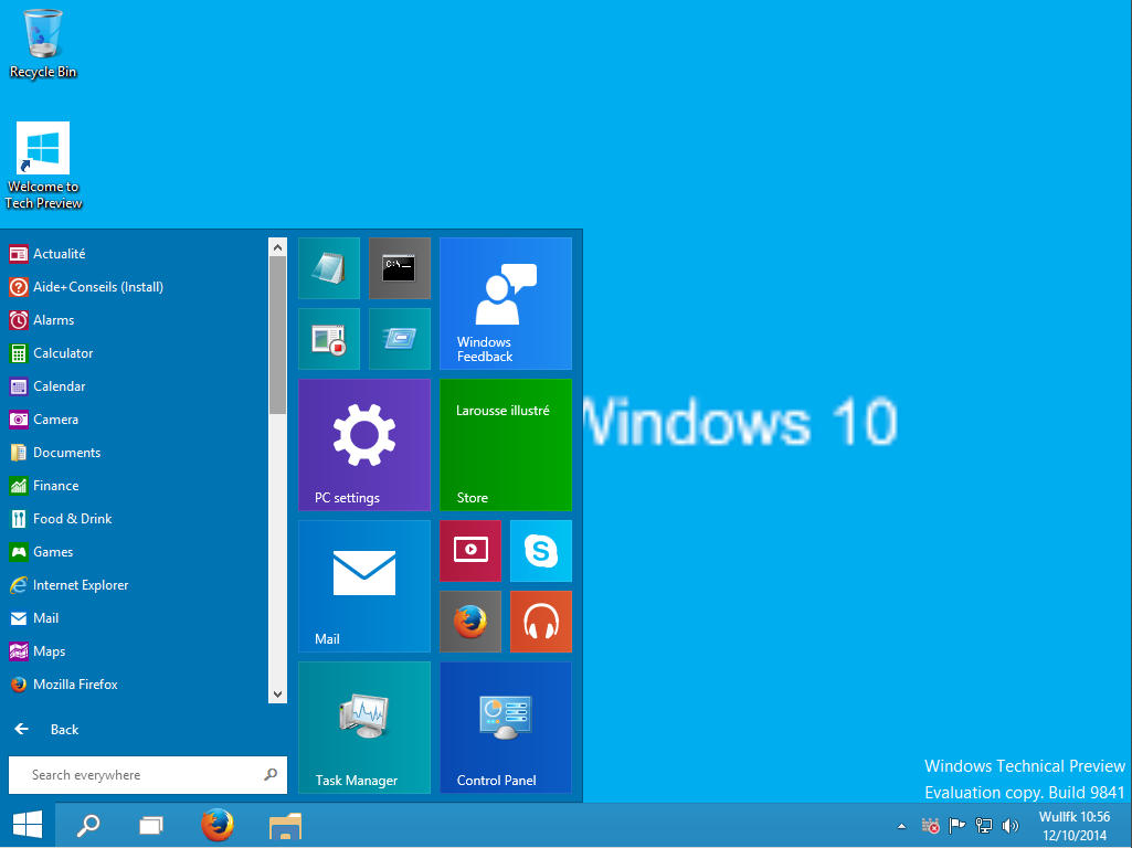 Menu Démarrer Windows 10 TP