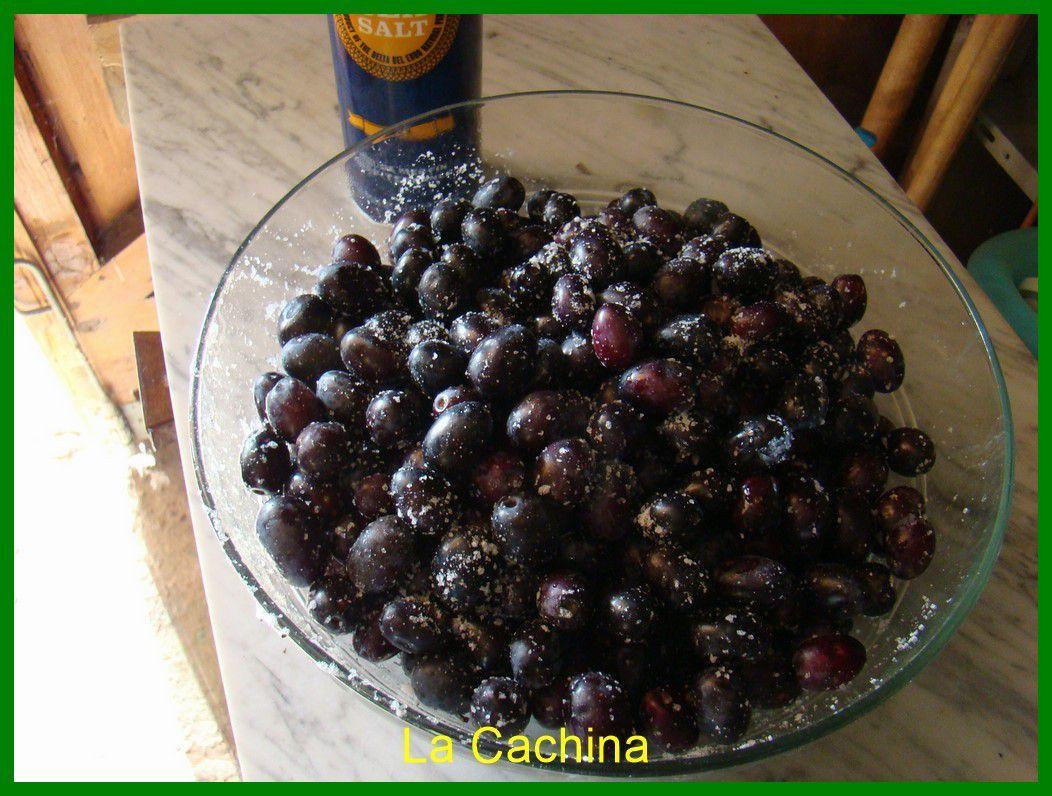 le selcommence à se coller aux parois et au olives, dans les jours qui suivent un liquide va apparaitre, surtout ne jamais le jeter