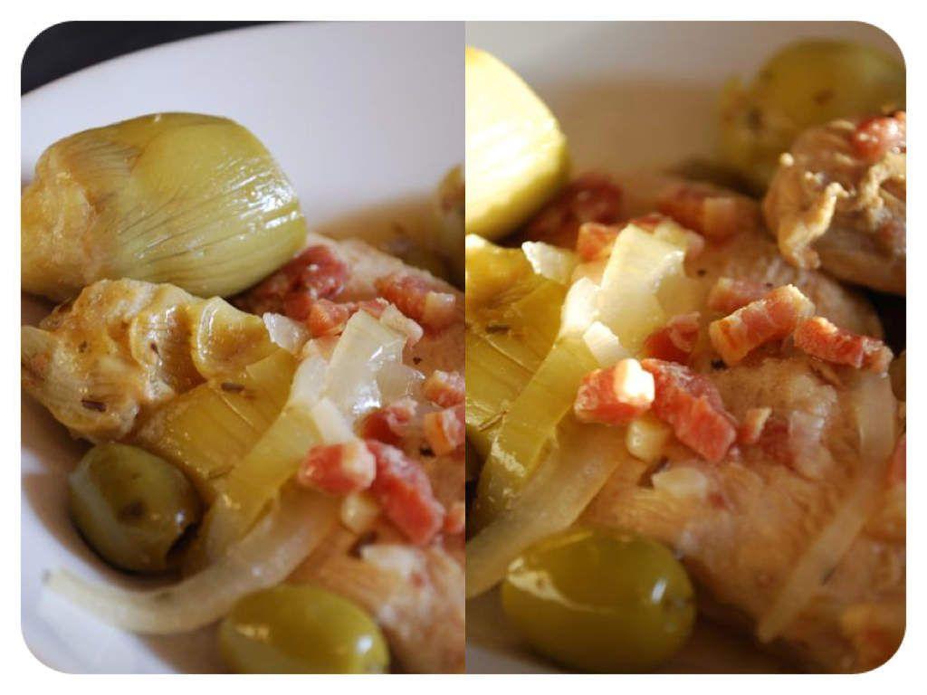 Blancs de poulet aux coeur d'artichauts et aux olives