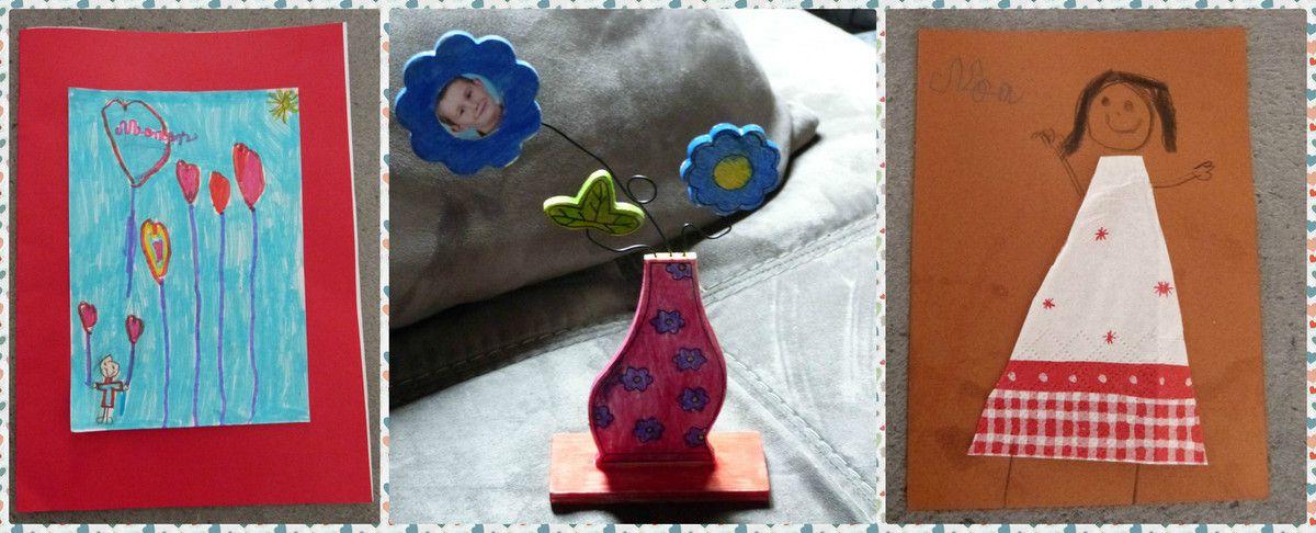Une carte et un pot de fleur en bois fait à l'école et une carte fait chez sa copine de la part de Noa qui en CE1