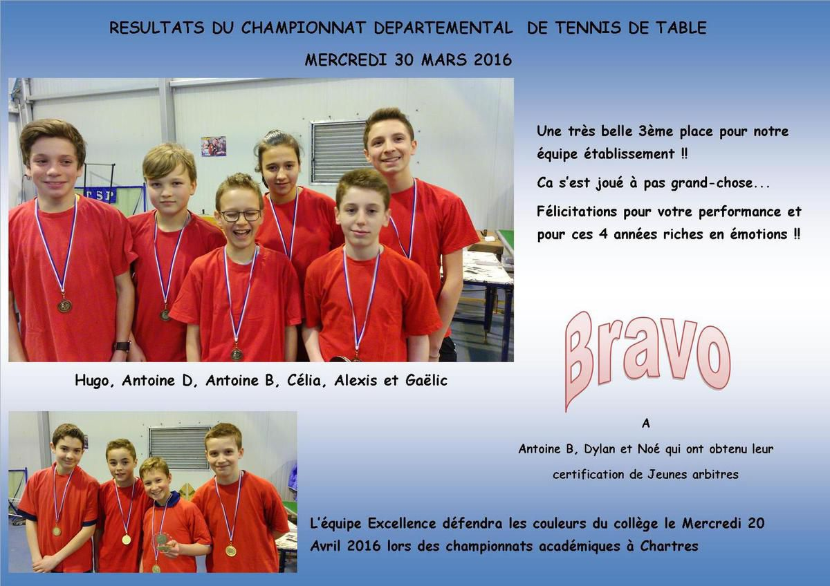 RESULTATS DU CHAMPIONNAT DEPARTEMENTAL DE TENNIS DE TABLE 2016