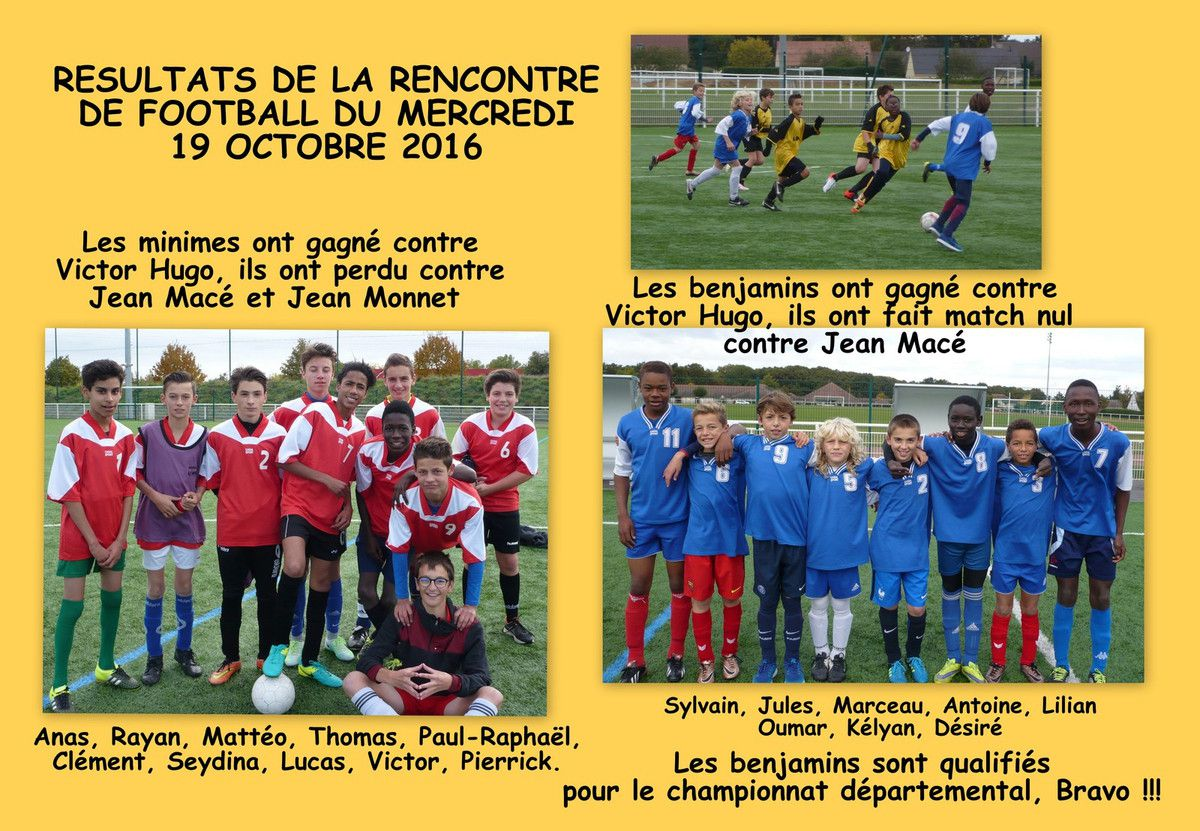 RESULTATS DE LA RENCONTRE DE FOOTBALL DU MERCREDI 19 OCTOBRE