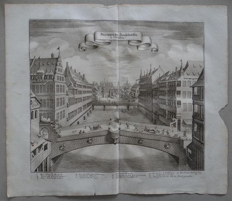 gravure perspective du pont de Nuremberg Merian