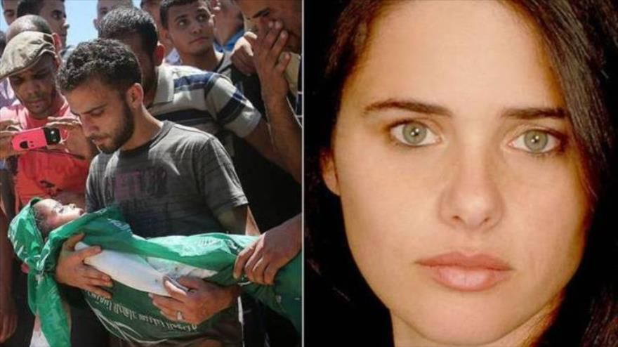 La foto muestra a Ayelet Shaked, ultraderechista israelí que abogó por el genocidio de palestinos, y un niño palestino muerto en una ofensiva israelí a Gaza