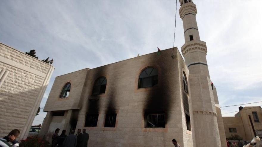 Mezquita Kufur Marir creca de Ramalá, que fue quemada por colonos israelíes.