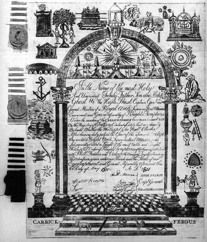 Certificat d'Arche Royale d'Irlande