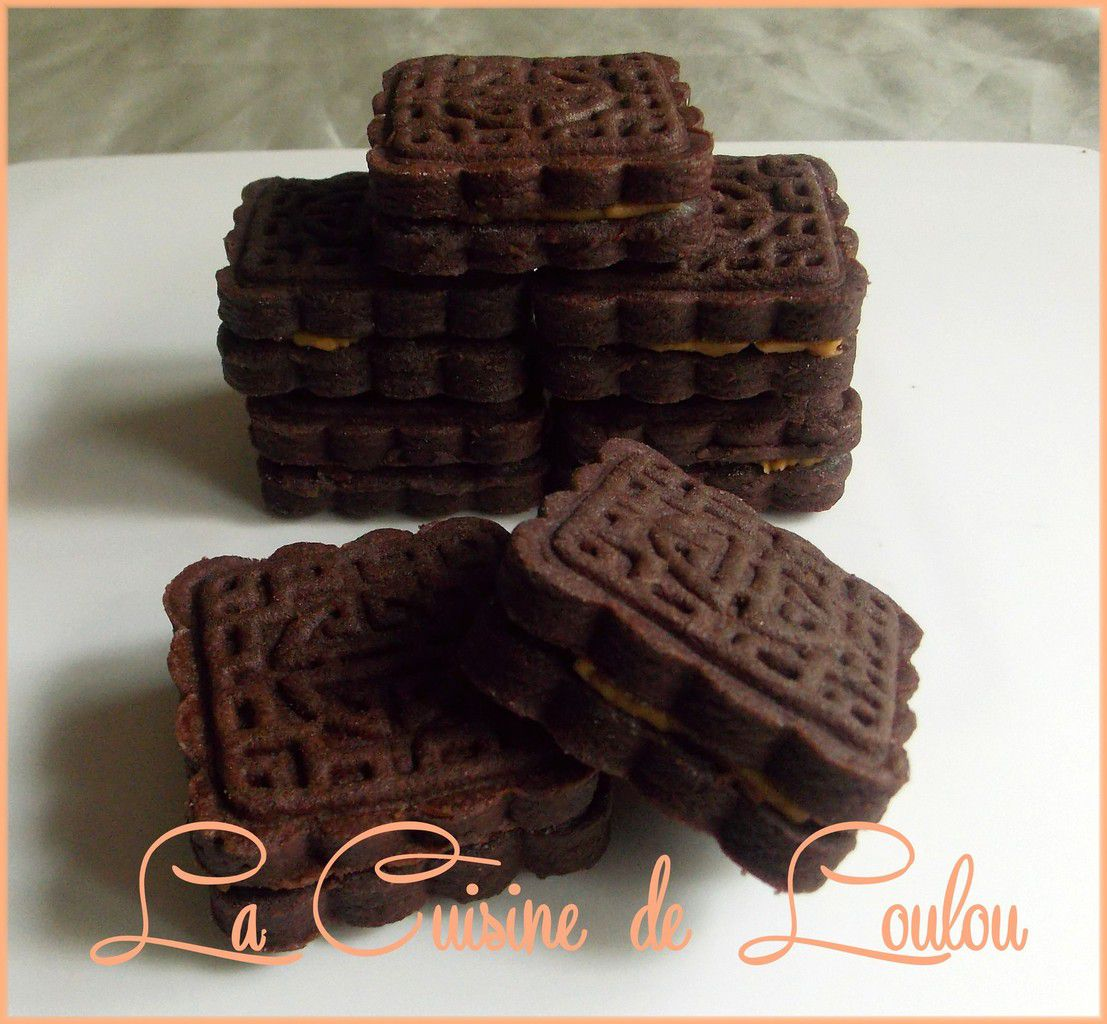Biscuits mooncake au chocolat fourrés caramel