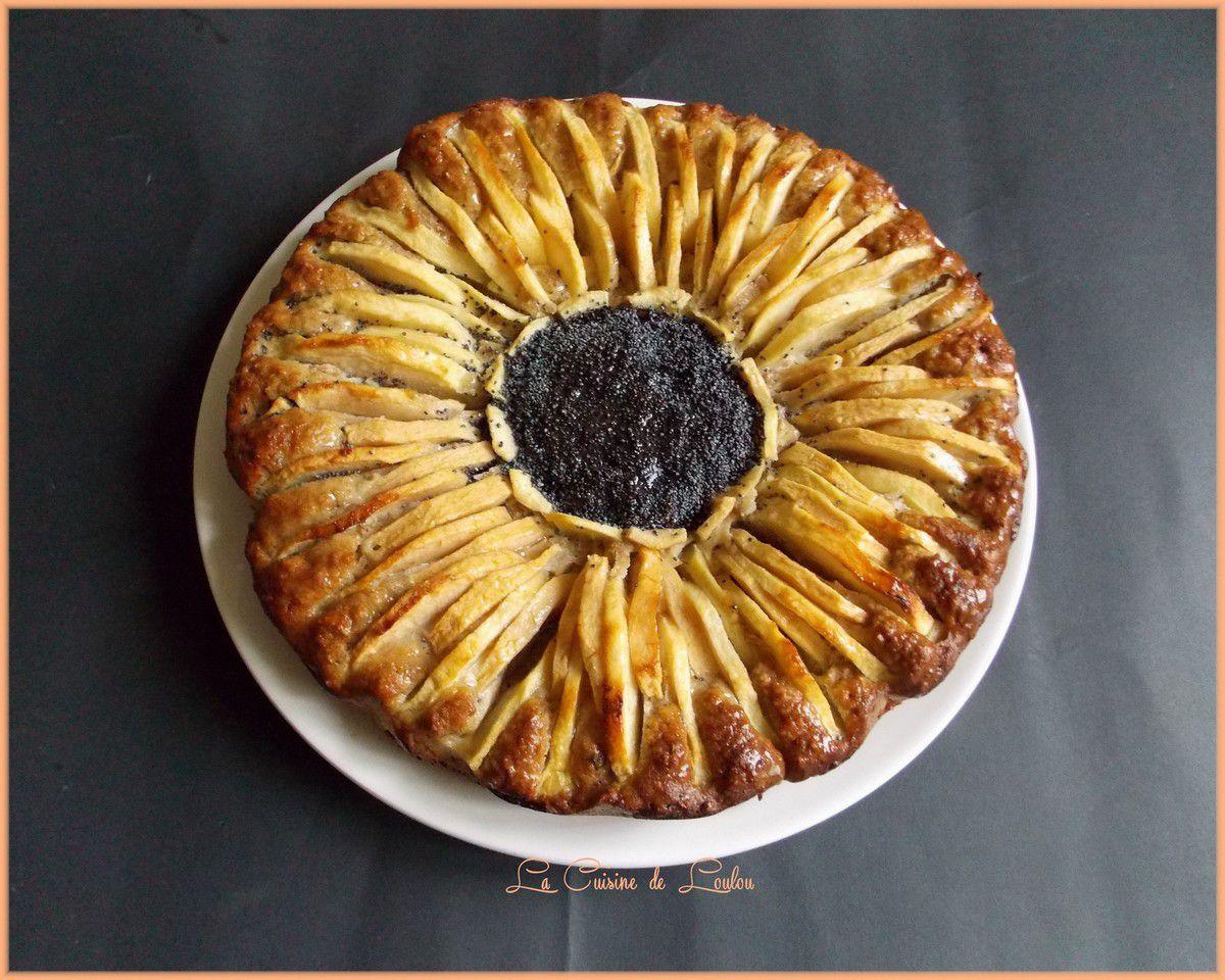 Gâteau aux pommes forme tournesol
