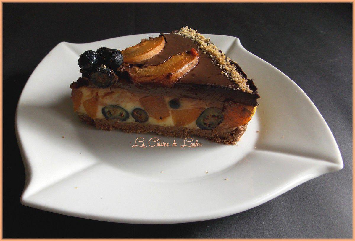 Entremet aux myrtilles et abricots et chocolat
