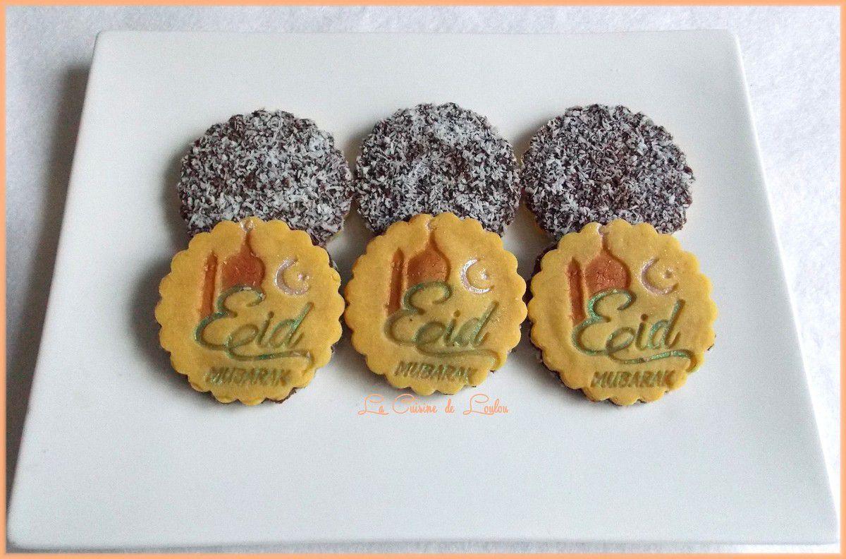 Sablés Eid mubarak au chocolat et noix de coco