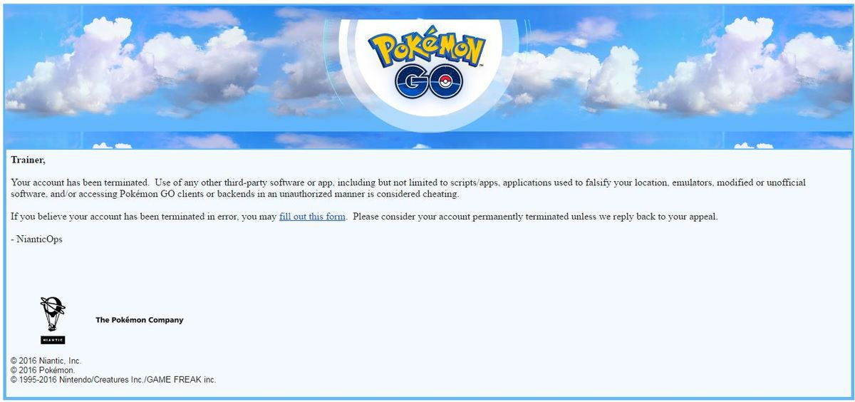 POKEMON GO, Bannissement