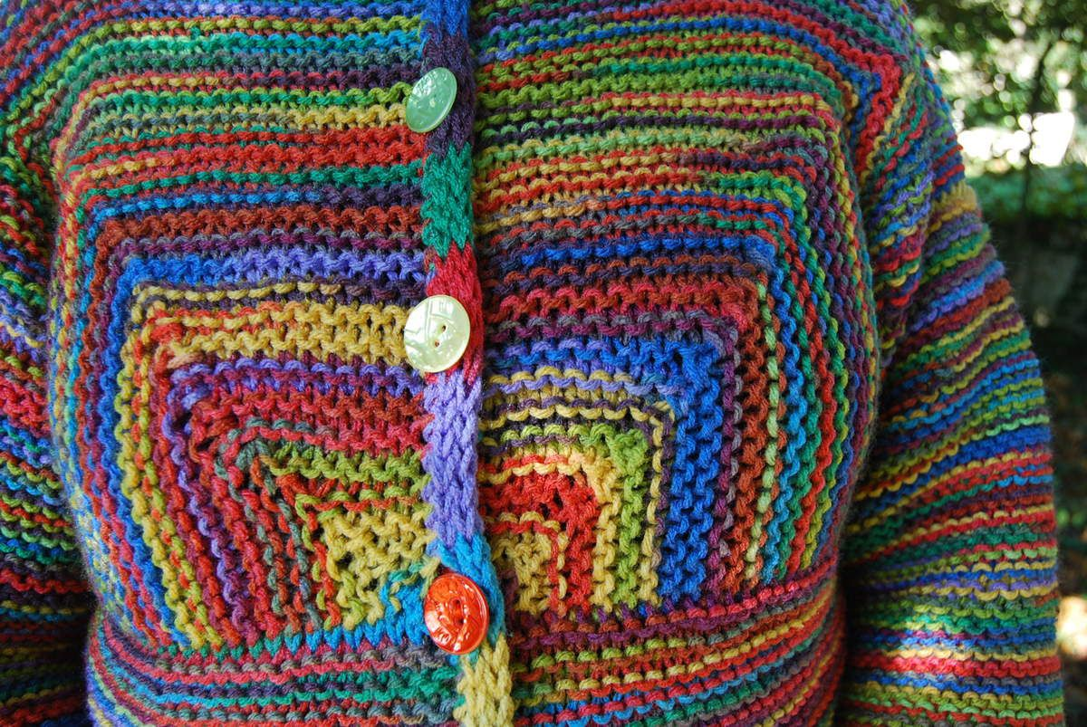 Modular adult cardigan en couleurs