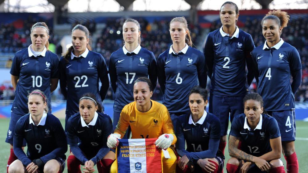 équipe de France féminine de football avant un match contre les Etats-Unis le 8 février 2015 (crédit photo Jean-François Monier A.F.P.)