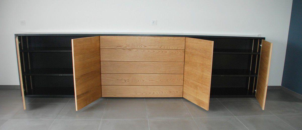 enfilade contemporaine en ch ne d fibr et valchromat noir atelier pourquoi pas mobilier. Black Bedroom Furniture Sets. Home Design Ideas