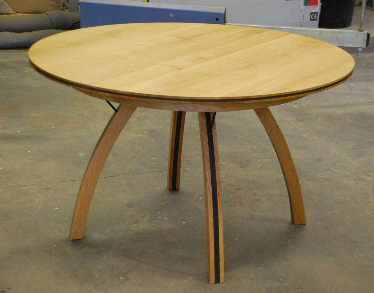 Table ronde chene design for Table ronde laquee avec rallonge