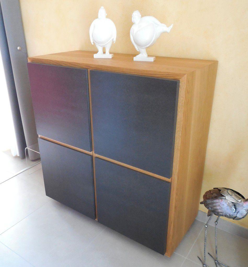 Meuble de s jour kre en ch ne massif et valchromat for Atelier du meuble contemporain