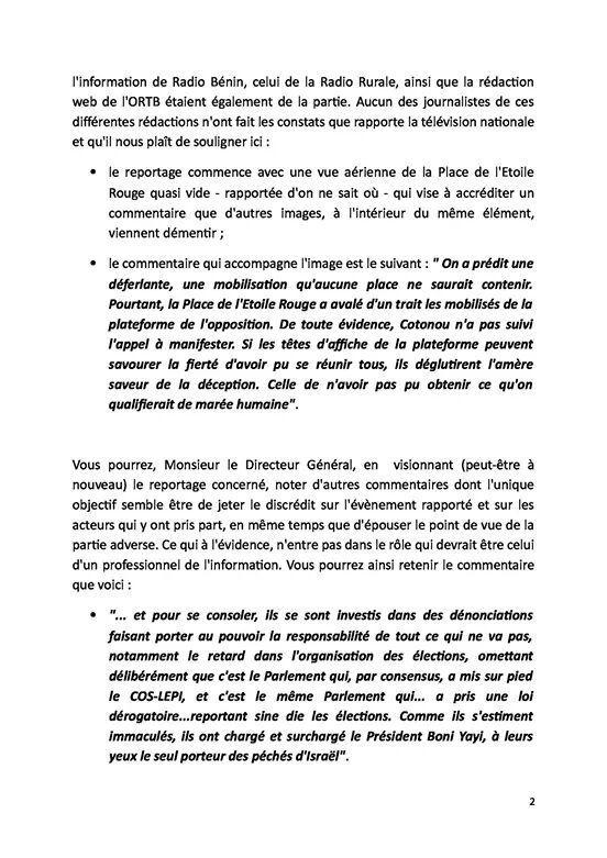 BENIN – ORTB : Le collectif des journalistes proteste contre le traitement de l'information relative à la marche du 11.12.2014 de la plate-forme des forces démocratiques par la TV-YAYI
