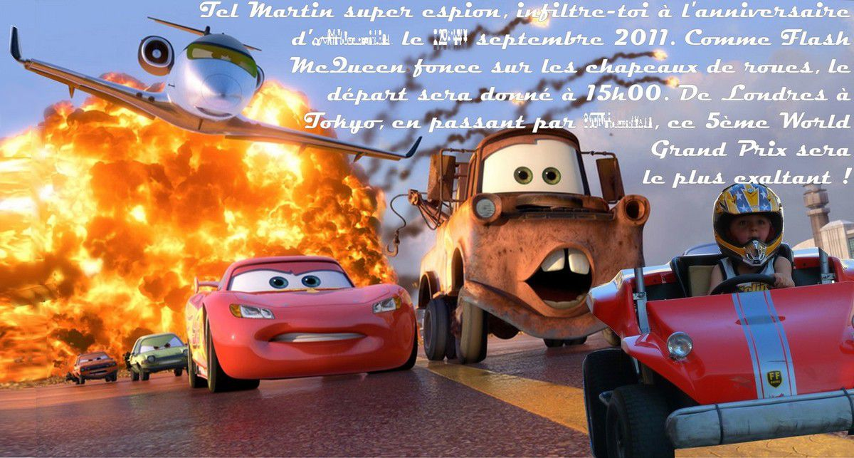 Invitation 5 ans Mini loup : Cars 2