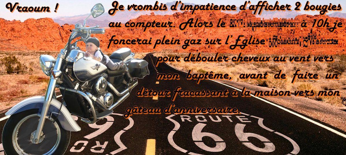 Invitation 2 ans + baptême Bébé loup : biker &quot&#x3B;on the road&quot&#x3B;
