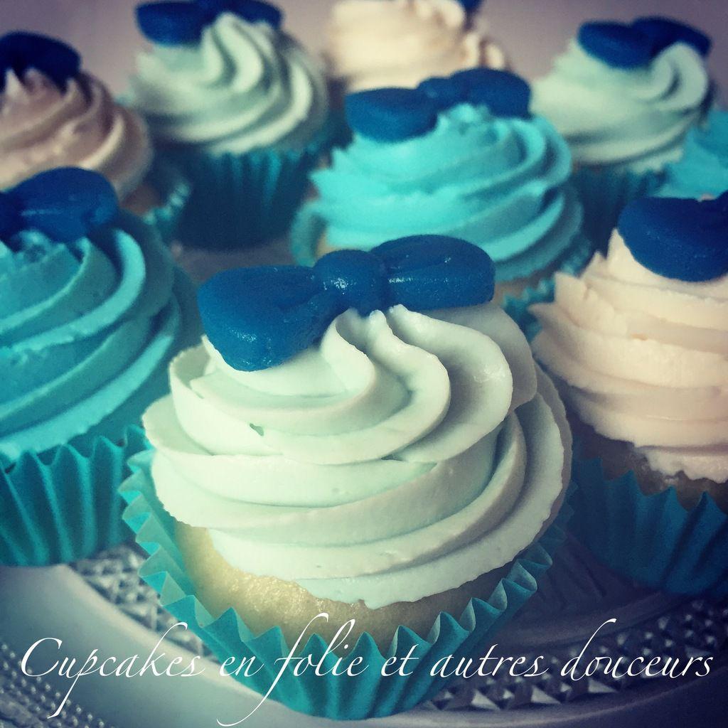 Cupcakes en bleu et blanc (Vanille/Nutella)
