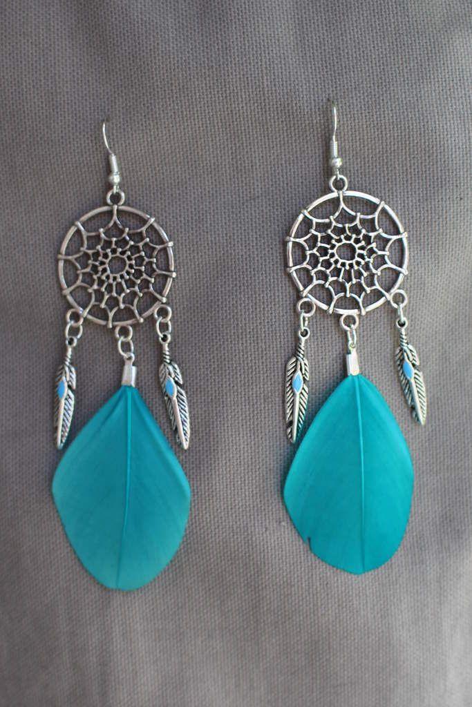 boucles d'oreilles argentées, turquoises