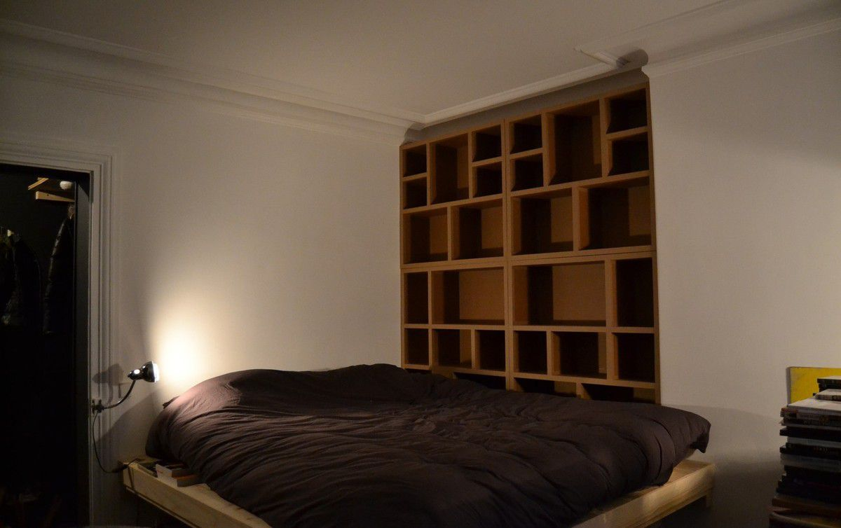 biblioth que encastr e meubles en carton angers. Black Bedroom Furniture Sets. Home Design Ideas