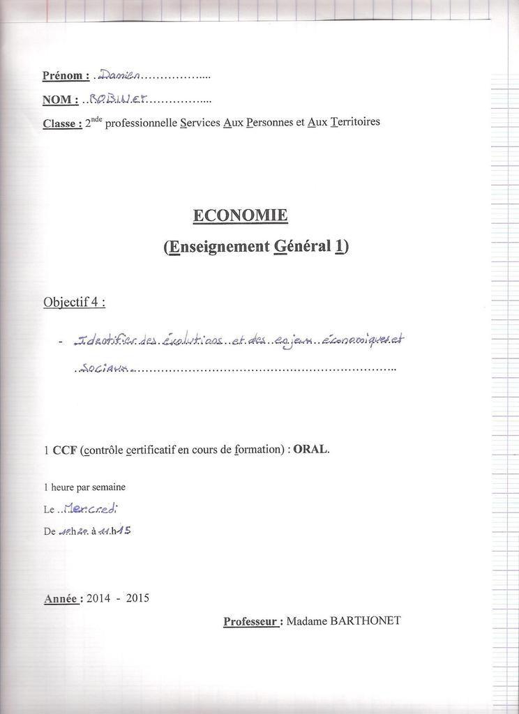 EG1 S.E.S.G = Economie