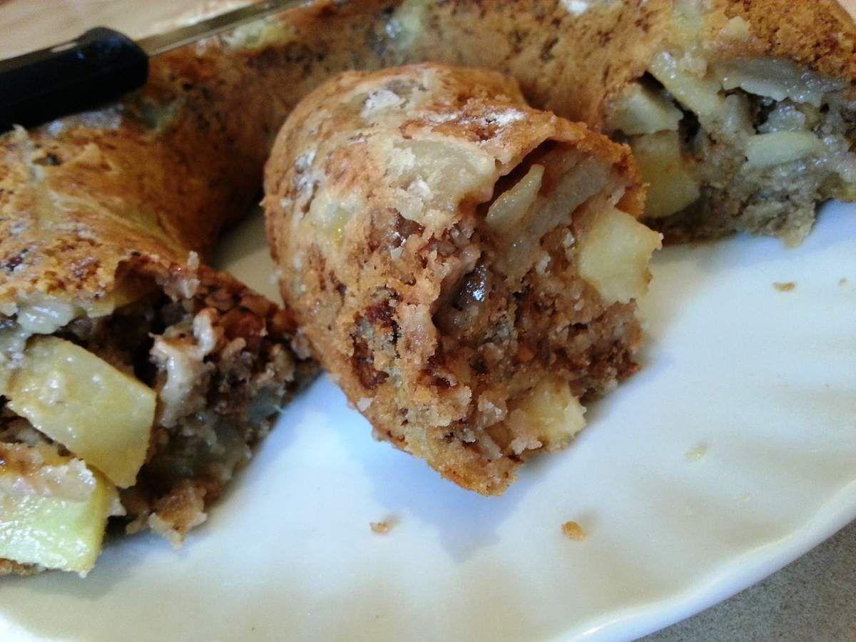 Gâteau aux pommes, poires et noix sans oeufs !