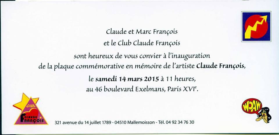 PLAQUE COMMEMORATIVE Claude FRANCOIS
