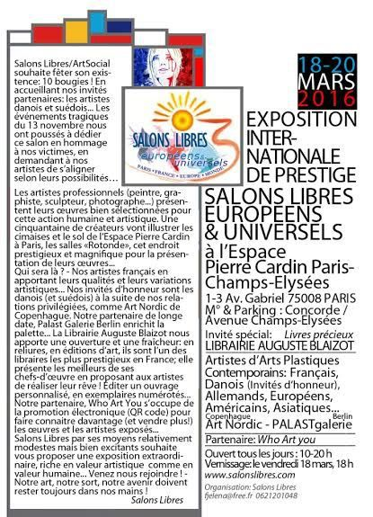 SALONS LIBRES Exposition Espace Cardin  18/20 MARS 2016