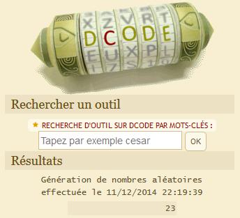 Tirage au sort du 11/12/2014 : le n°23 a été tiré au sort, il s'agit donc de... OLINA. Bravo !!!!!!