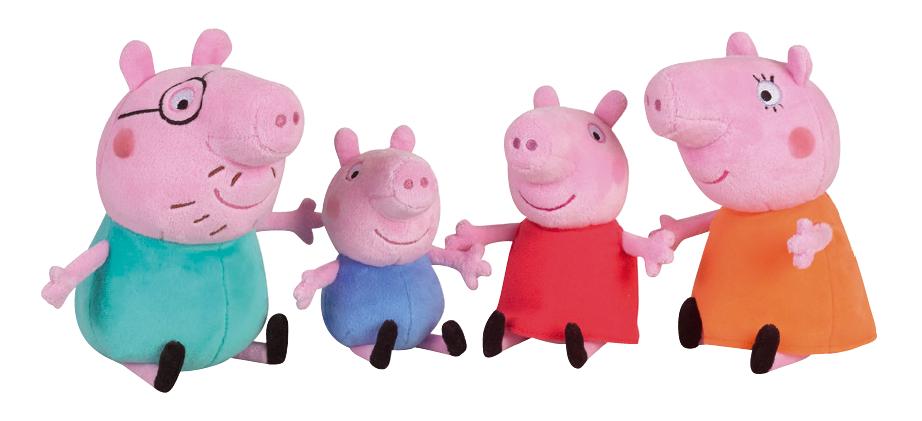 PELUCHES PEPPA PIG ET SA FAMILLE - Superbes pour imaginer de nouvelles aventures à l'infini ! Âge : 1+. Prix public conseillé : entre 30 et 35€.