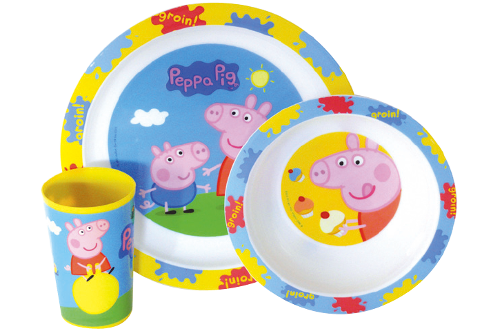ENSEMBLE LUNCH PEPPA PIG - Des produits à l'effigie de Peppa, pratiques car également adaptés pour le micro-ondes et le lave-vaisselle ! Âge : 3+. Prix public conseillé : entre 9 et 12€.