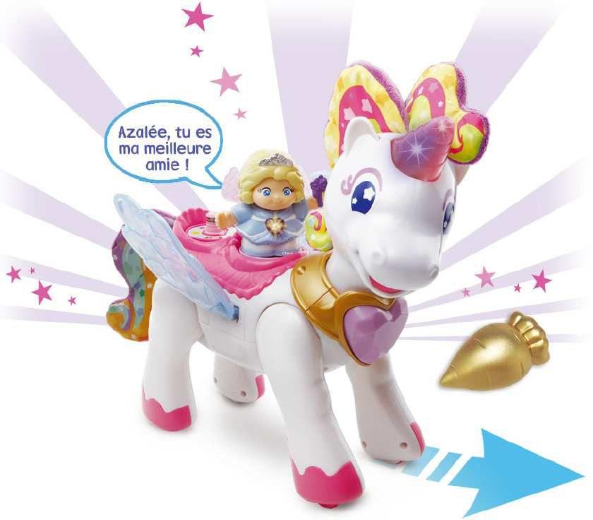 TUT TUT COPAINS - Azalée, licorne arc-en-ciel enchantée : accompagnée de Chloé la reine des fées, Azalée est une jolie licorne qui avance toute seule, bat des ailes et s'illumine ! Âge : de 1 à 5 ans. Prix public conseillé : 30€.