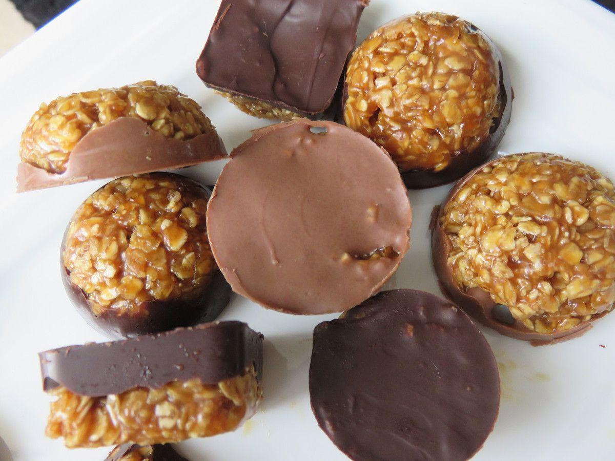 bouchées au son d'avoine caramélisé et chocolat